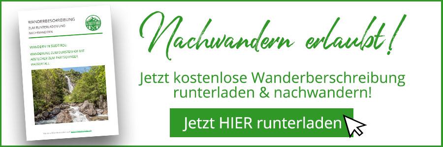 A Tasty Hike - Dursterhof und Partschinser Wasserfall Suedtirol - Wanderbeschreibung Banner