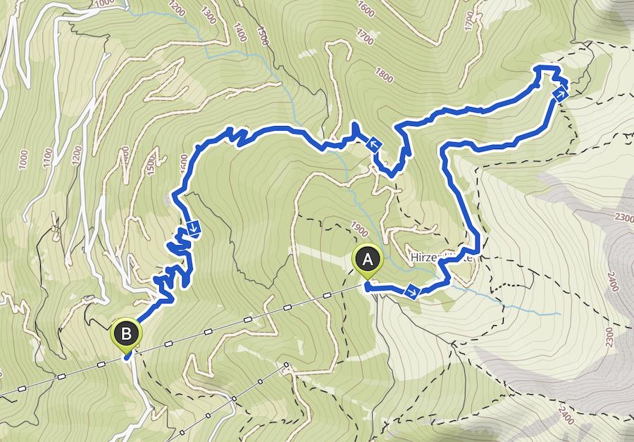 Hirzer Wanderung - A Tasty Hike - Suedtirol - Wanderkarte