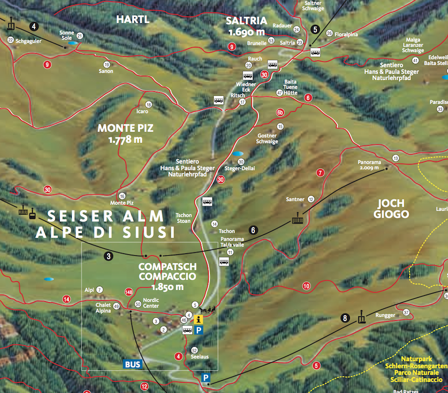 Wanderkarte Seiser Alm Südtirol