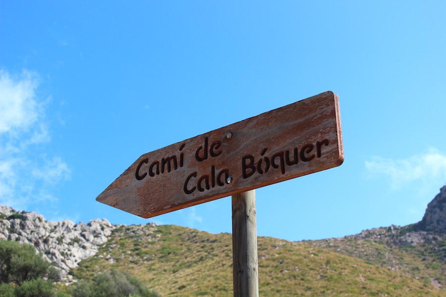 Wanderung Cala Bóquer Mallorca - Wanderschild