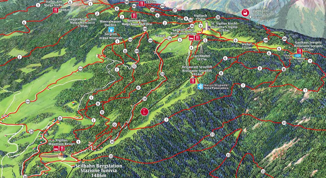 Wanderkarte Vigiljoch Südtirol