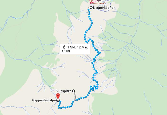 Vom Neunerköpfle zur Sulzspitze mit einem Zwischenstopp auf der Gappenfeldalm