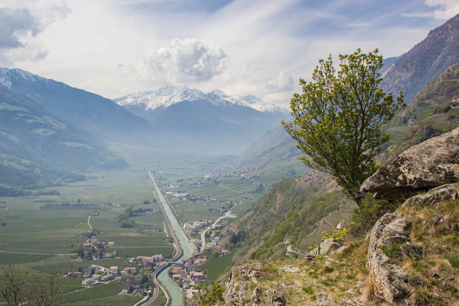Naturnser Waalweg Südtirol - Ausblick Vinschgau