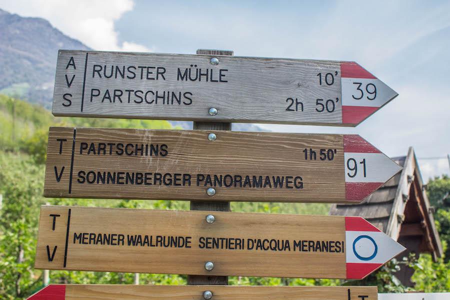 Naturnser Waalweg Suedtirol - Schild