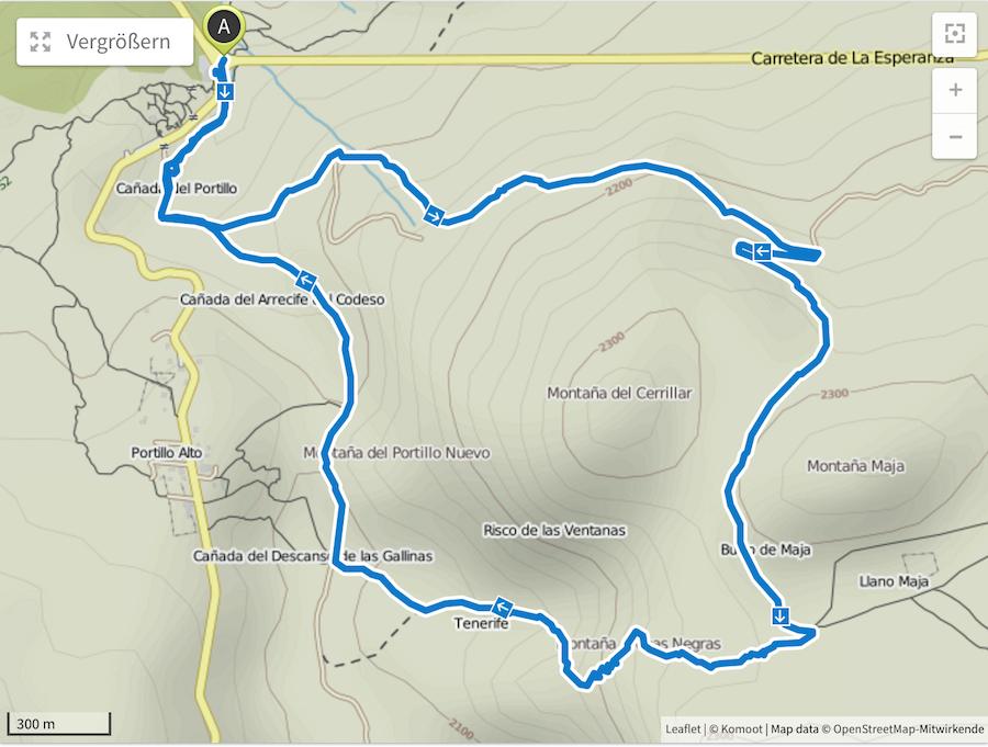 Wanderung Teneriffa - Hochebene - El Teide - Strecke im Detail Komoot