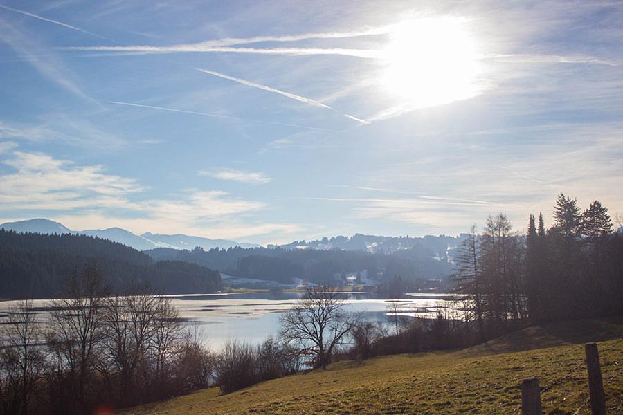 Wanderung Niedersonthofener See - See mit Sonnenuntergang