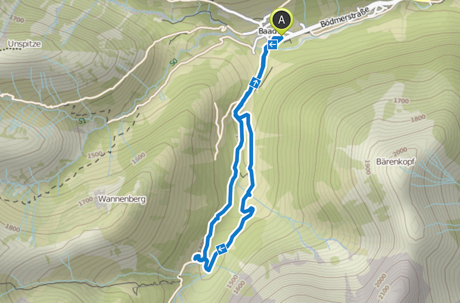 Wanderung im Baergunttal - Karte