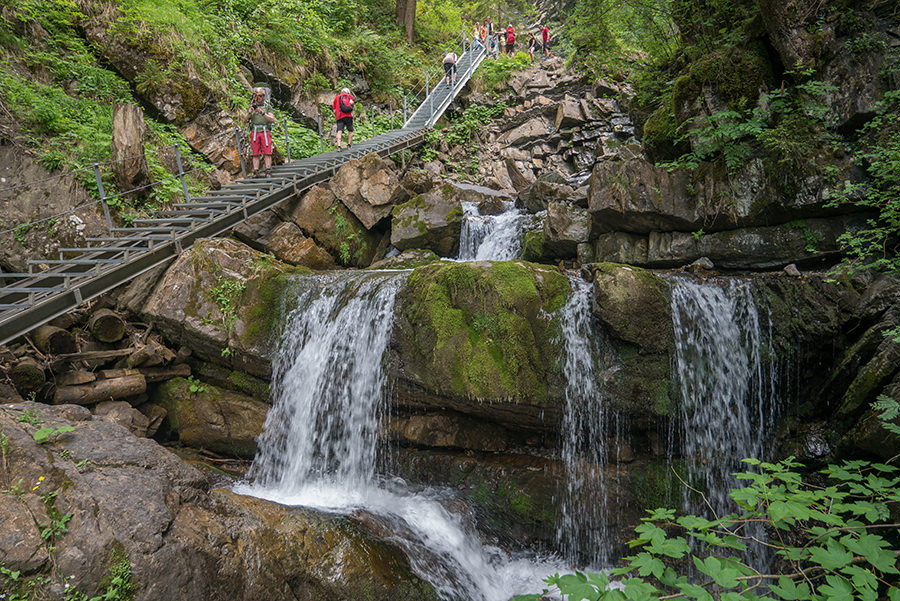 Wandern im Tobel bei Oberstdorf - Treppe im Tobel