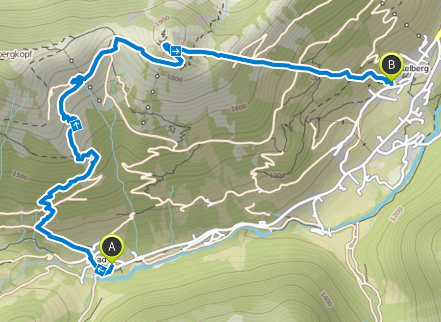 Wanderung zum Walmendinger Horn im Kleinwalsertal - Strecke
