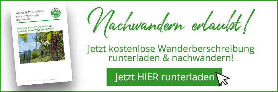 Banner kostenlose Wanderbeschreibung Gravedona Comer See