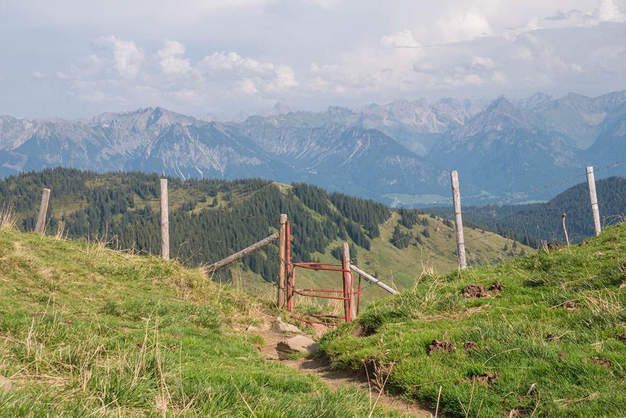 Wandern zum Riedberger Horn - Aussicht mit Tor