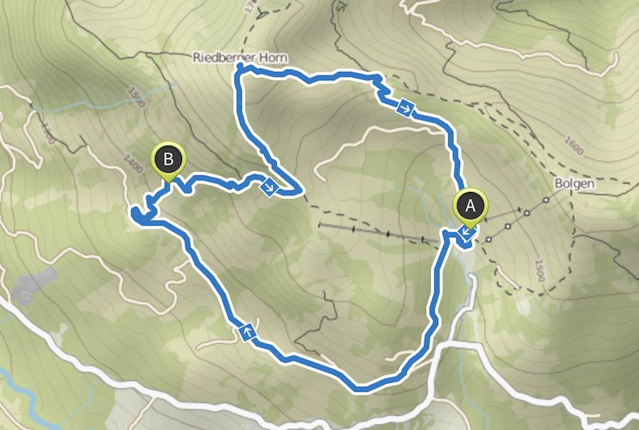 Wandern zum Riedberger Horn - Wanderkarte
