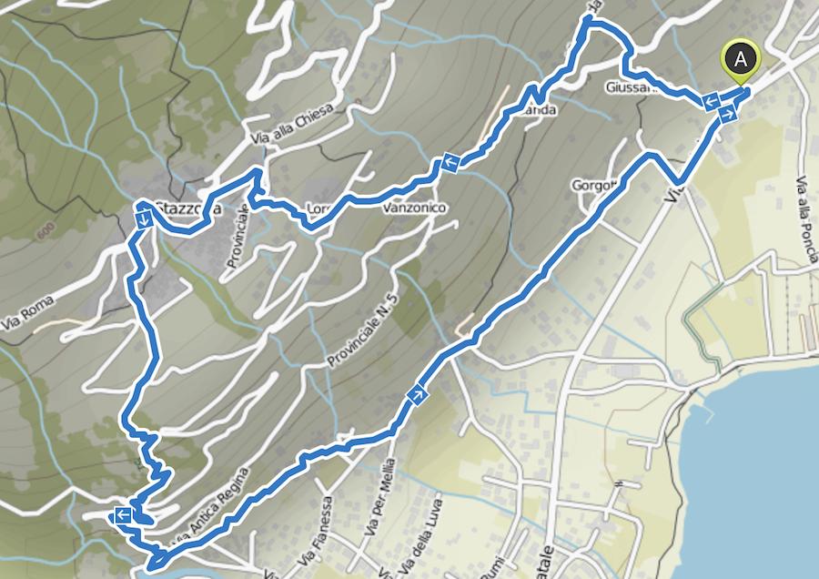 Wanderung Gravedona - Wanderkarte