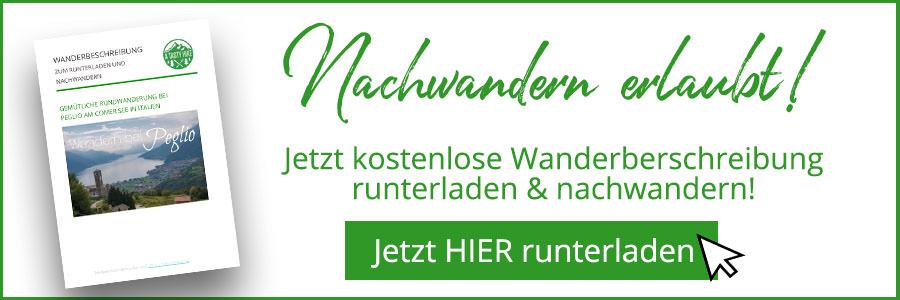 Banner kostenlose Wanderbeschreibung Peglio Comer See