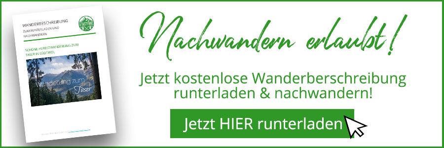 Banner kostenlose Wanderbeschreibung Taser Suedtirol