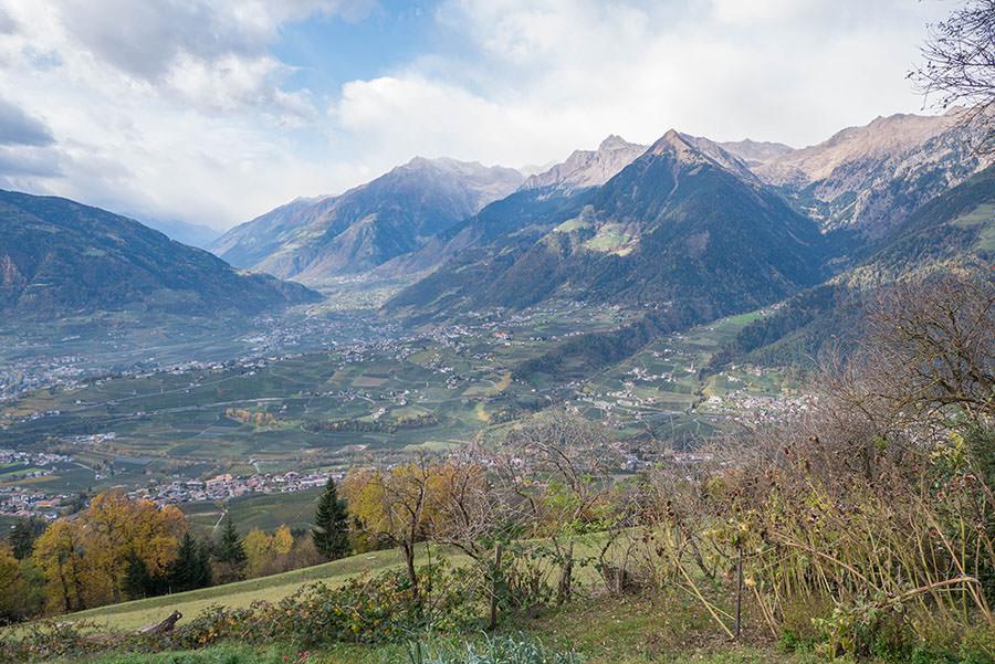 Wandern Taser in Suedtirol - Aussicht Zmailer Alm