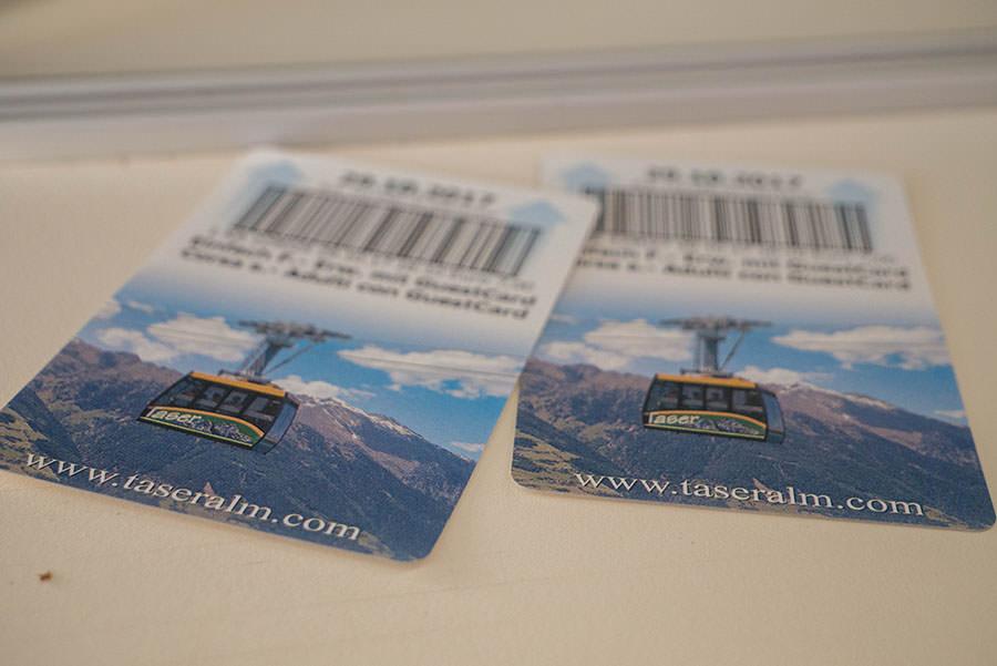 Wandern Taser in Suedtirol - Taser Bahn Tickets