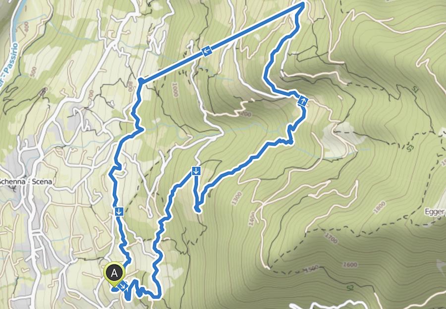 Wandern Taser in Suedtirol - Wanderkarte