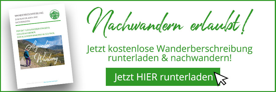 Banner kostenlose Wanderbeschreibung Algunder Waalweg