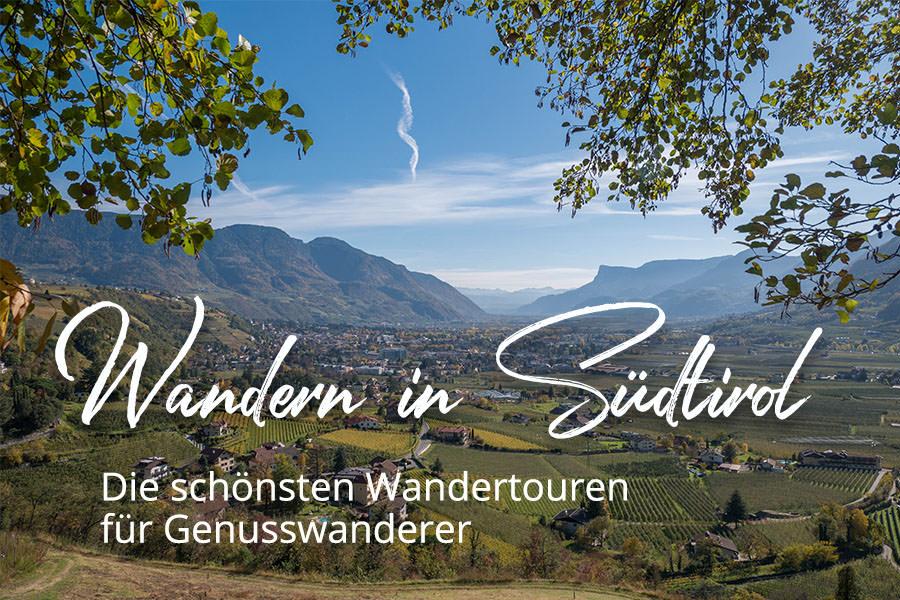 Suedtirol Karte - Wandern in Suedtirol - Uebersicht mit Untertitel