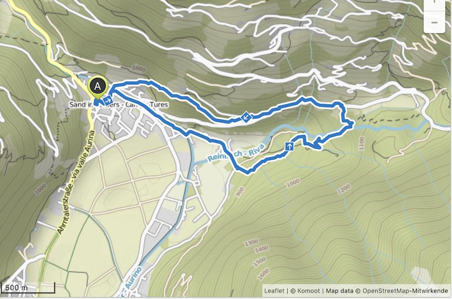 A Tasty Hike Wanderung Reinbach Wasserfaelle bei Sand in Taufers in Suedtirol - Karte