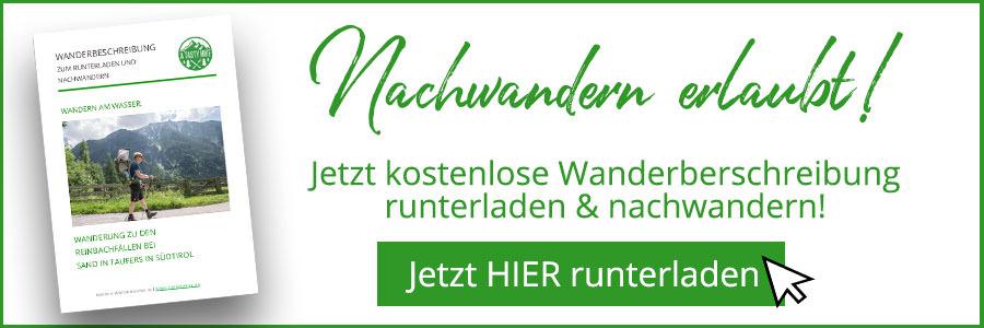 A Tasty Hike Wanderung Reinbachfaelle bei Sand in Taufers in Suedtirol - Wanderbeschreibung Banner
