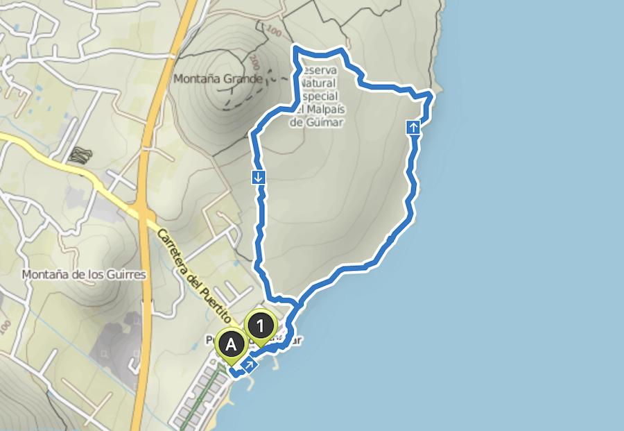 A Tasty Hike - Kuestenwanderung - Teneriffa - Malpais de Gueimar - Wanderkarte
