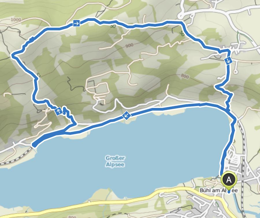 A Tasty Hike Genusswandern Allgäu - Wanderung zur Siedelalpe am Alpsee - Wanderkarte