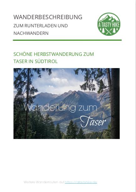 Wandern Taser in Suedtirol - Kostenlose Wanderbeschreibung