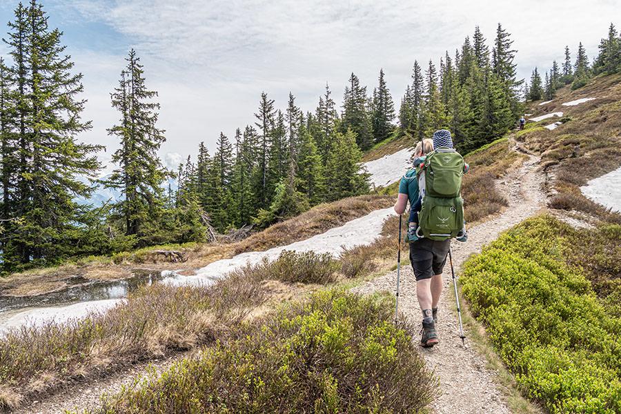 Saalbach Hinterglemm Sommer - Wanderung vom Kohlmaiskopf zur Wildenkarhuette - A Tasty Hike - Pfad durch Schnee