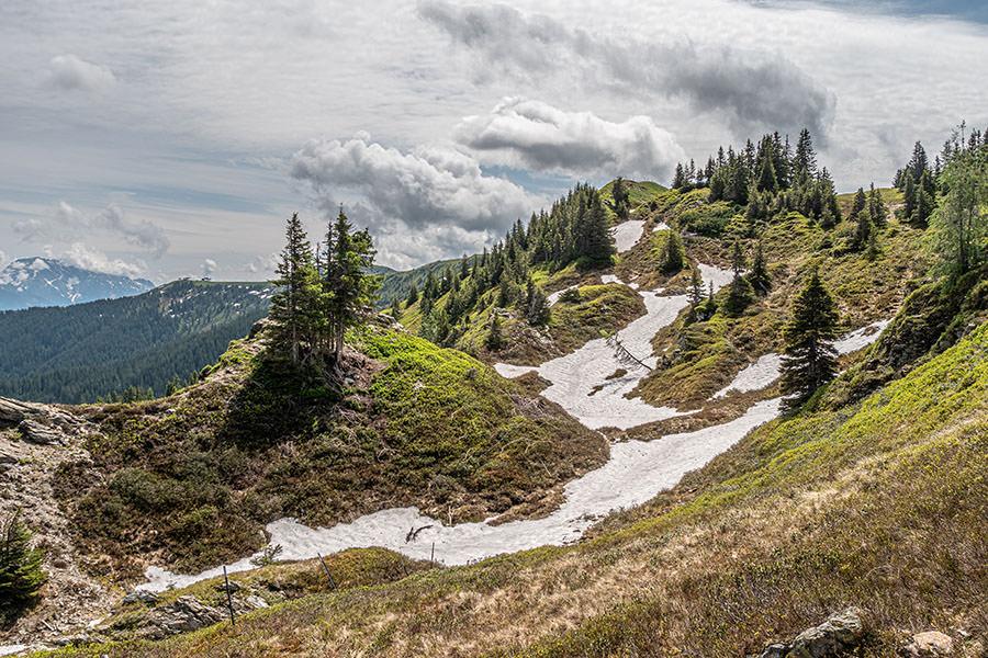Saalbach Hinterglemm Sommer - Wanderung vom Kohlmaiskopf zur Wildenkarhuette - A Tasty Hike - Schnee