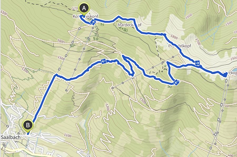 Saalbach Hinterglemm Sommer - Wanderung vom Kohlmaiskopf zur Wildenkarhuette - A Tasty Hike - Wanderkarte