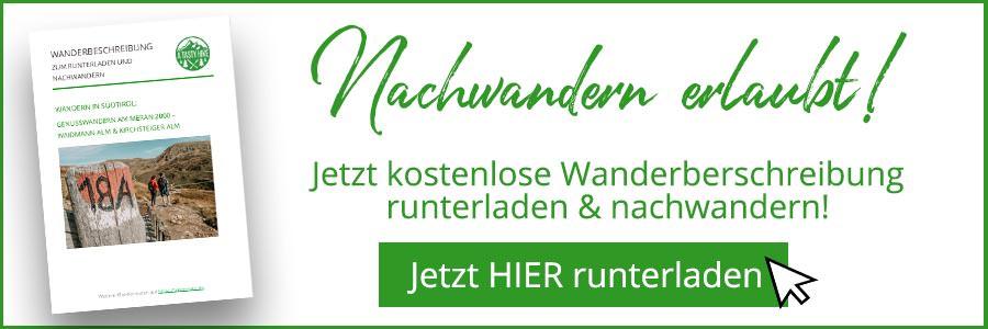 A Tasty Hike - Meran 2000 - Waidmann Alm und Kirchsteiger Alm - Genusswanderung - Wanderbeschreibung Banner