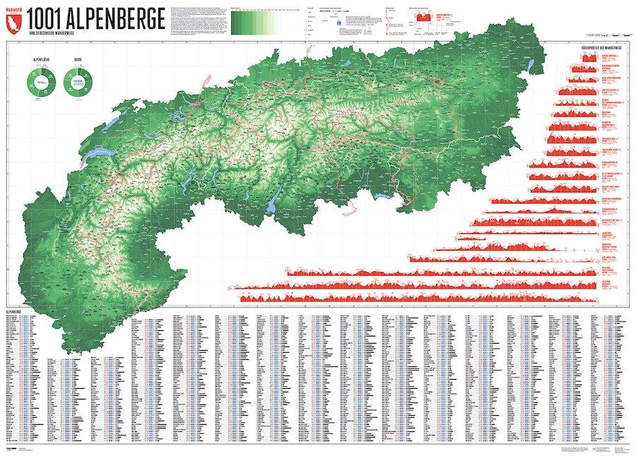 Geschenke fuer Wanderer Alpenkarte
