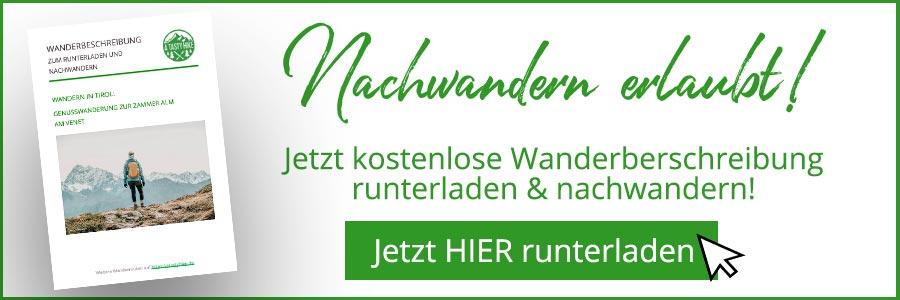 Zammer Alm Genusswanderung bei Zams in Tirol - Wanderbeschreibung Banner