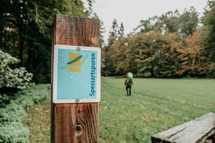 Spessart Wandern Spessartspur Wildromantische HIrschbornteiche - Schild
