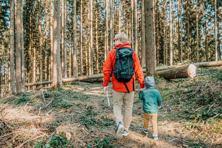 Isny Wandern - gemuetliche Runde zum Herbisweiher bei Isny im Allgaeu - Christian und Zwergsteiger