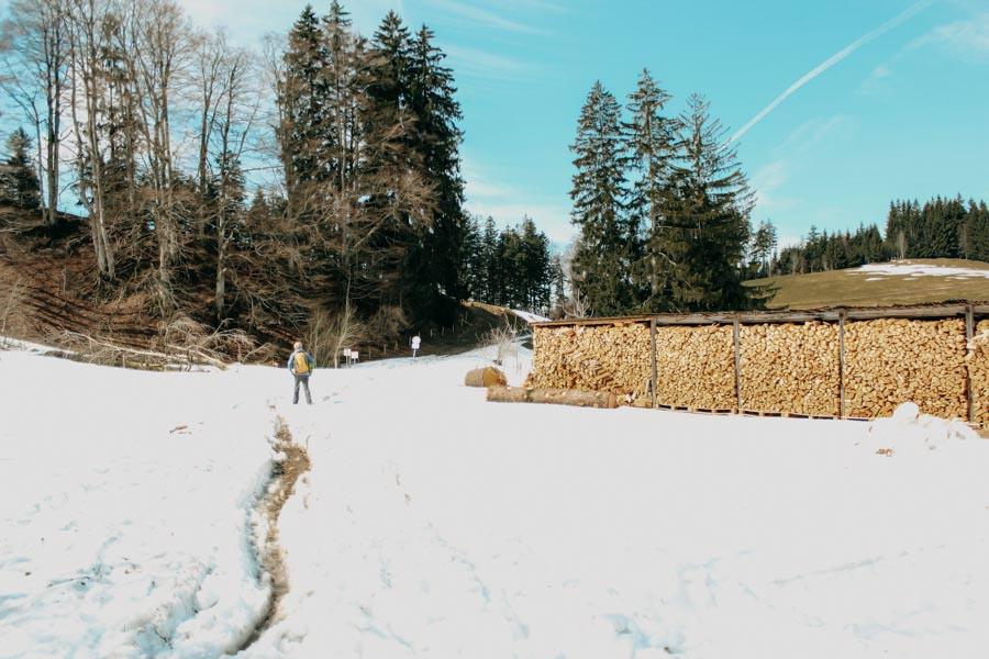 Schwarzer Grat Wanderung Wandern durch Schnee