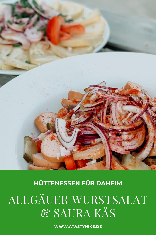 Wurstsalat mit Käse Rezept – In diesem Beitrag teilen wir unser Lieblingsrezept für Wurstsalat mit Käse und ein Rezept für traditionellen Sauren Käse mit dir. Auf unserem Blog findest du das Rezept auch zum Download. #ATastyHike #Wurstsalat #WurstsalatRezept #WurstsalatmitKäse #SaurerKäse #Hüttengaudi #Hüttenessen
